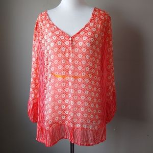 Lucky Brand Orange Bohemian Tunic Long Sleeve L